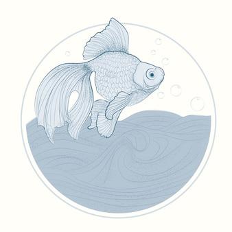 Desenho do peixe dourado, linha arte de fish vetora illustration.