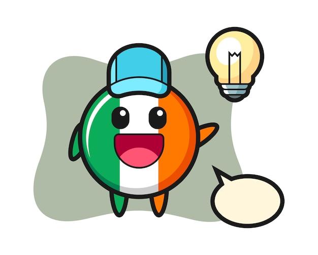 Desenho do personagem com o emblema da bandeira da irlanda tendo a ideia