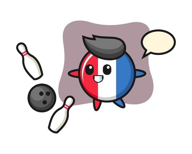 Desenho do personagem da bandeira da frança jogando boliche
