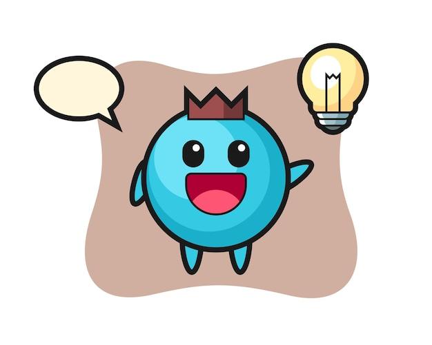 Desenho do personagem de mirtilo tendo a ideia