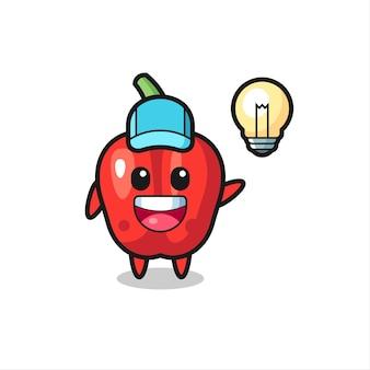 Desenho do personagem de pimentão vermelho tendo a ideia