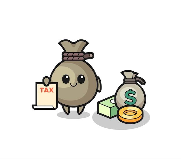 Desenho do personagem de saco de dinheiro como um contador, design de estilo fofo para camiseta, adesivo, elemento de logotipo