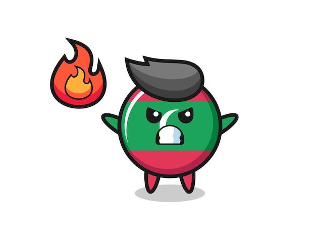 Desenho do personagem do emblema da bandeira das maldivas com gesto de raiva, design fofo