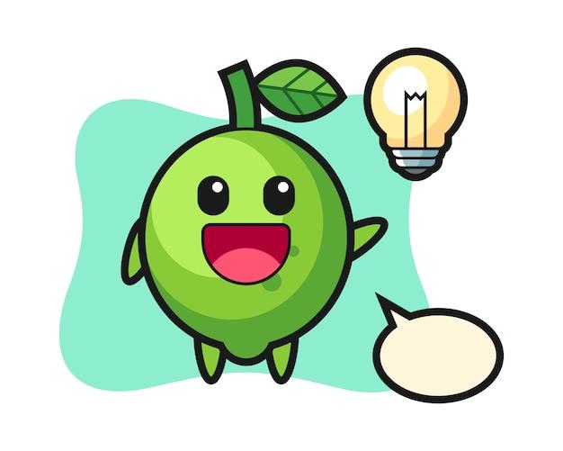 Desenho do personagem lime tendo a ideia, estilo fofo, adesivo, elemento de logotipo