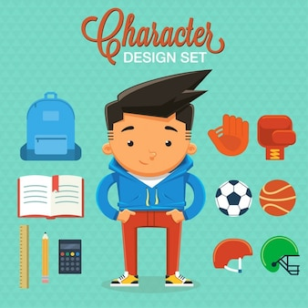 Desenho do personagem menino com elementos e acessórios vetor
