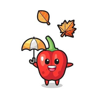 Desenho do pimentão vermelho fofo segurando um guarda-chuva no outono, design de estilo fofo para camiseta, adesivo, elemento de logotipo