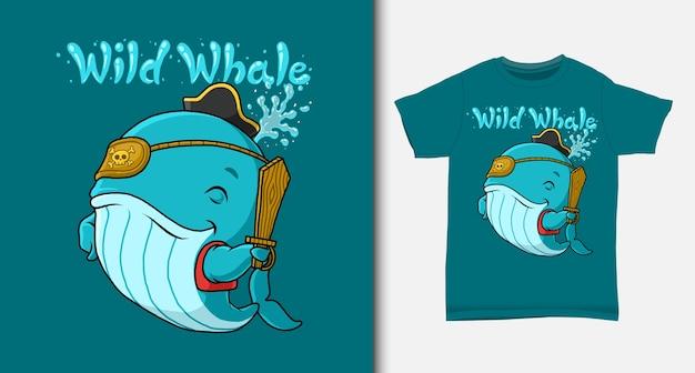Desenho do pirata da baleia azul. com design de t-shirt.