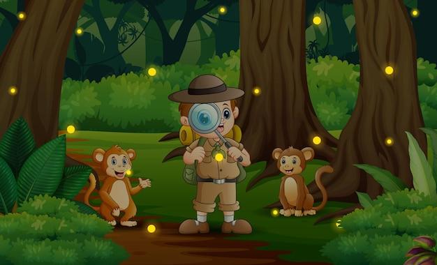 Desenho do safari boy e macacos na selva