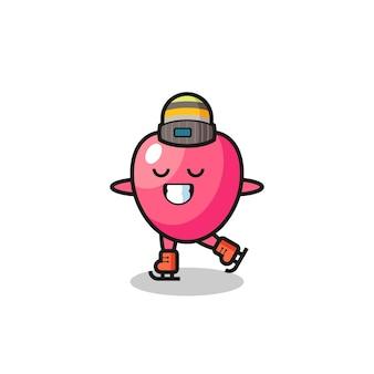 Desenho do símbolo do coração como um jogador de patinação no gelo fazendo performance, design de estilo fofo para camiseta, adesivo, elemento de logotipo
