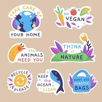 Desenho do tema de coleção de emblemas de ecologia