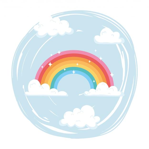 Desenho do tempo do arco-íris brilhante com nuvens no céu