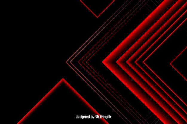 Desenho do triângulo em linhas de luz vermelha