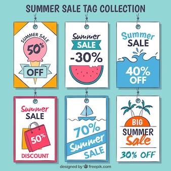 Desenho do verão tag da venda pacote