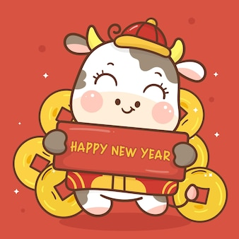 Desenho do zodíaco de boi segurando a etiqueta de feliz ano novo com moeda de ouro personagem animal kawaii
