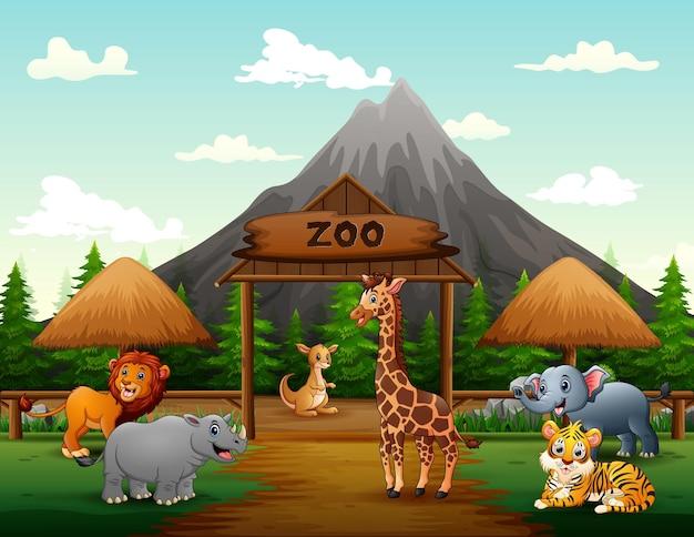 Desenho dos portões de entrada do zoológico com ilustração de animais de safári