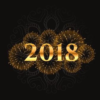 Desenho dourado de fogos de artifício 2018 e design brilhante
