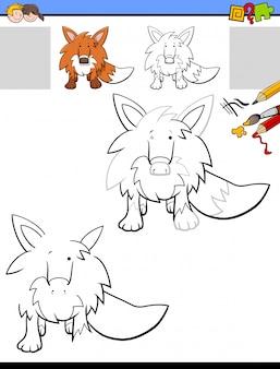 Desenho e coloração de planilha com animal raposa