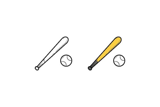 Desenho e cor da ilustração desenhada à mão de beisebol