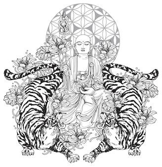 Desenho e esboço da arte da tatuagem da china de buda na mão de lótus e tigre