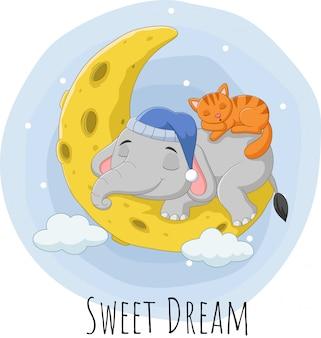 Desenho elefante e gato dormindo na lua
