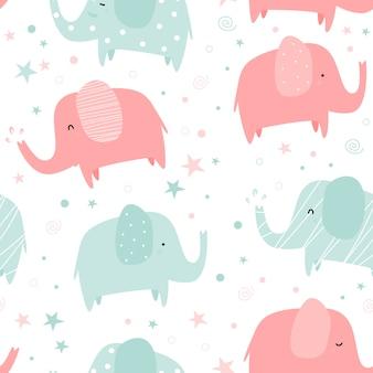 Desenho elefante fofo pastel doodle padrão sem emenda