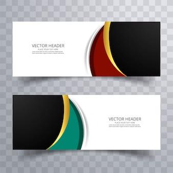 Desenho elegante de design de banners coloridos