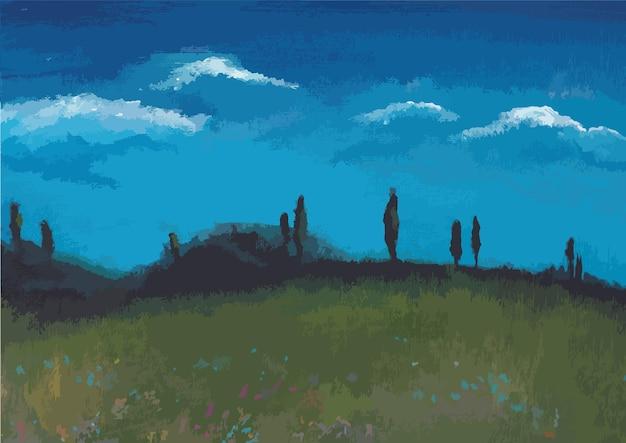 Desenho em acrílico da paisagem da natureza, céu azul e nuvens
