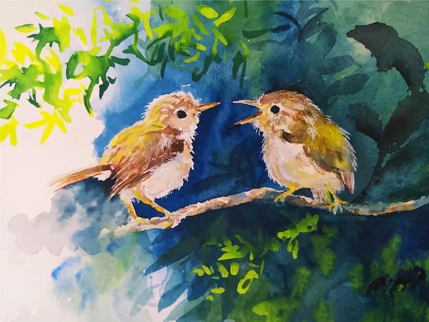 Desenho em aquarela bonito de dois pássaros.