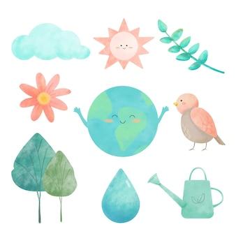 Desenho em aquarela com ícones para conjunto ambiental