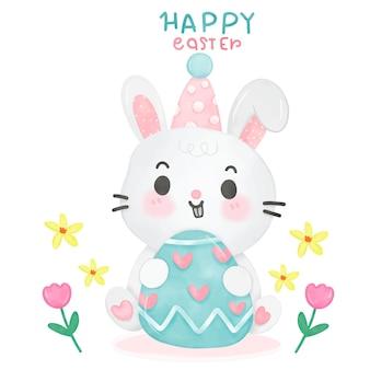 Desenho em aquarela de coelhinho da páscoa abraço ovo com flor no estilo kawaii Vetor Premium