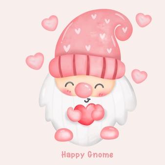 Desenho em aquarela de gnomo fofo segurando um coração para o dia dos namorados no estilo kawaii