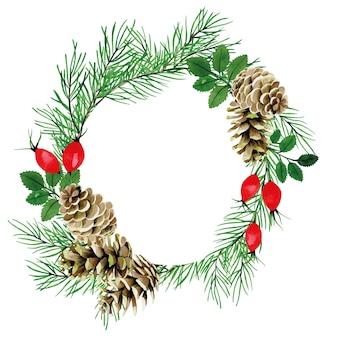 Desenho em aquarela de natal com moldura redonda e cones de ramos de pinheiro e bagas vermelhas