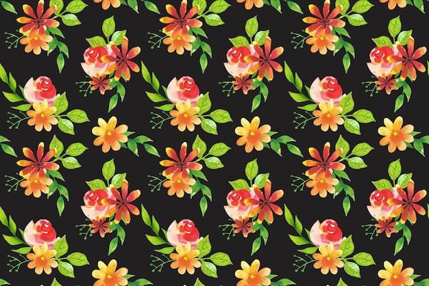 Desenho em aquarela de padrão de flores
