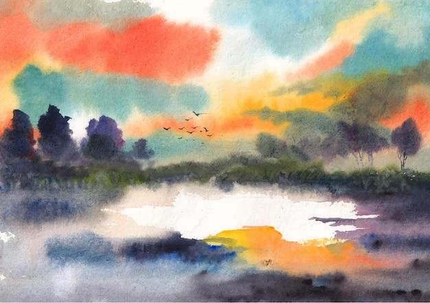 Desenho em aquarela de pintura de paisagem natural