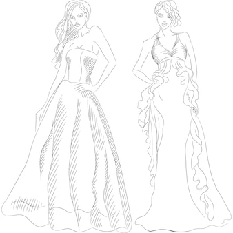 Desenho em preto e branco de uma linda jovem com cabelos longos em um vestido de noite da moda isolado no fundo branco