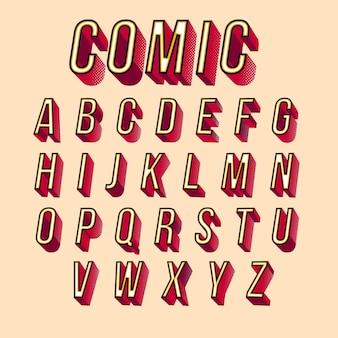 Desenho em quadrinhos alfabeto 3d