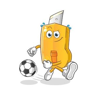 Desenho engraçado do cortador chutando a bola