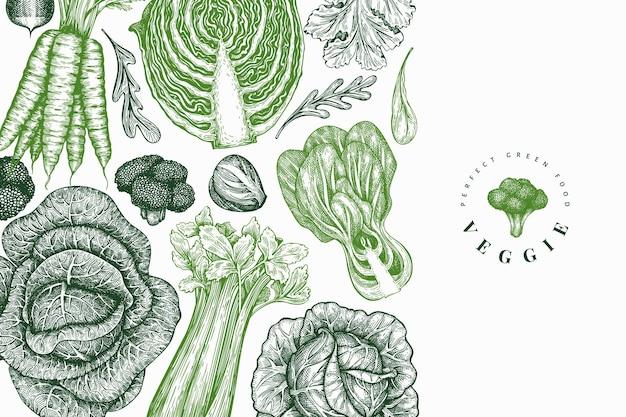 Desenho esboço desenhado à mão de vegetais