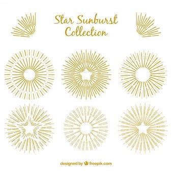 Desenho estrela dourada e decoração sunburst