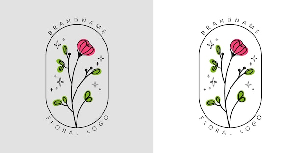 Desenho floral de beleza feminina com flores e folhas