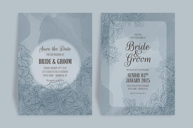 Desenho floral de folhas em aquarela em convite de casamento