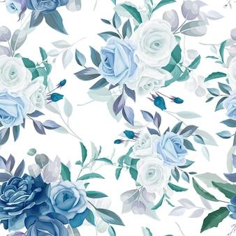 Desenho floral e folhas sem costura padrão