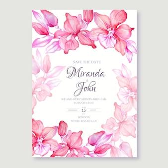 Desenho floral em aquarela de convite de casamento