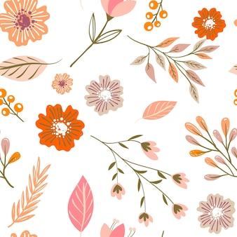 Desenho floral em tons de pêssego