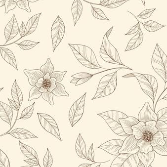 Desenho floral monocromático