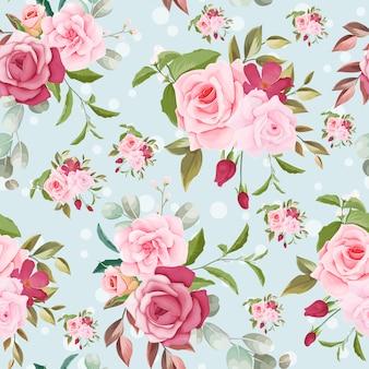 Desenho floral padrão sem emenda desenhado à mão