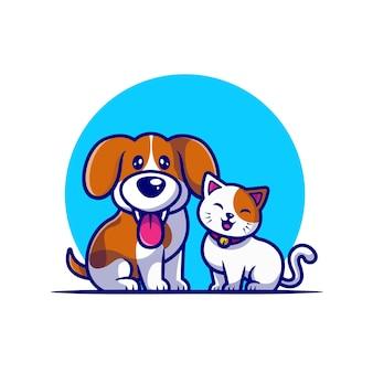 Desenho fofo amigo de cão e gato