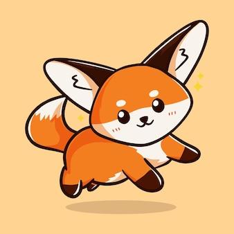 Desenho fofo com logotipo de rosto de raposa sorridente ilustração em vetor vermelho estilizado