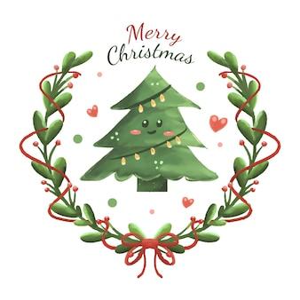 Desenho fofo da árvore de natal e ilustração da grinalda