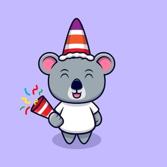 Desenho fofo da mascote de coala e confete